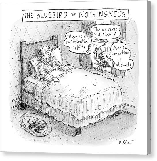 Bluebirds Canvas Print - A Man Sits In Bed by Roz Chast
