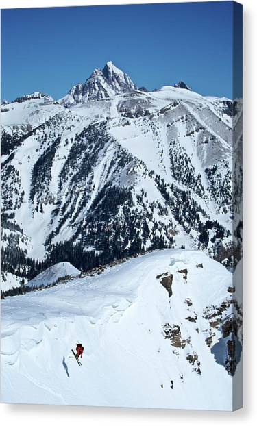 Hole In One Canvas Print - A Man Skiing A Steep Slope by Derek DiLuzio