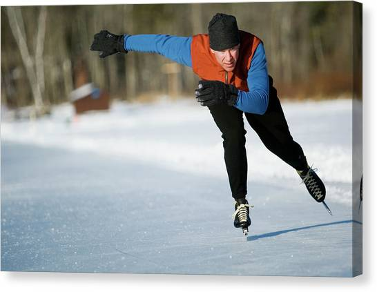 Speed Skating Canvas Print - A Man Speedskating On Lake Morey by Chris Milliman