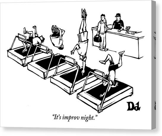 Gym Canvas Print - A Man Stands At The Desk Of A Gym. Four People by Drew Dernavich