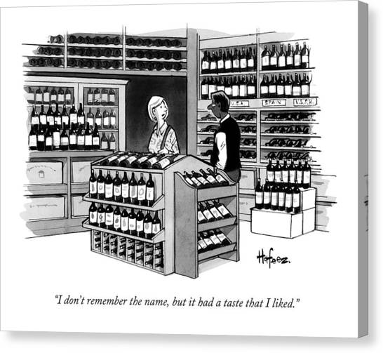 A Man Talking To An Employe At A Wine Store Canvas Print
