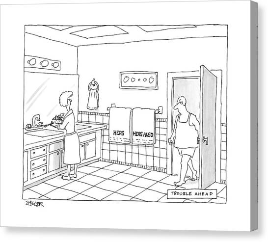 Toothbrush Canvas Print - A Man Walks Into A Bathroom Where His Wife by Jack Ziegler