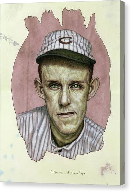 Baseball Players Canvas Print - A Man Who Used To Be A Player by James W Johnson