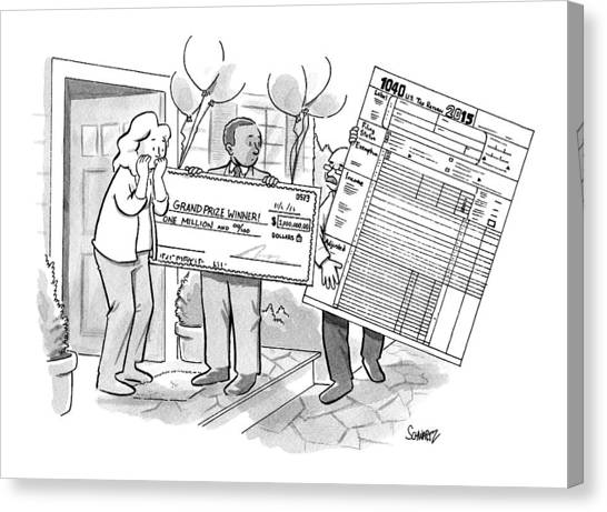 Taxes Canvas Print - A Man With A Giant Sweepstakes Check by Benjamin Schwartz