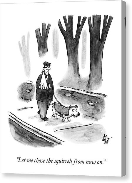 Dog Walking Canvas Print - A Man With His Arm In A Sling Walks His Dog by Frank Cotham