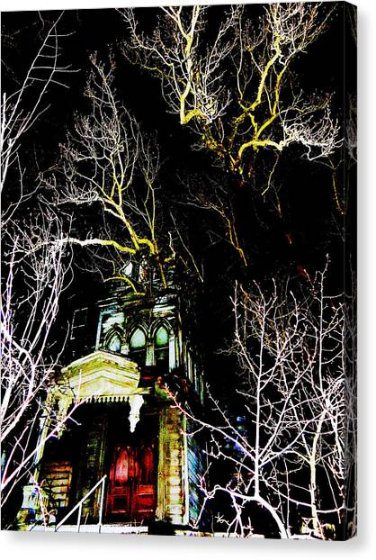 Midnite Canvas Print - A Mansion In Darkness by Mike Greco