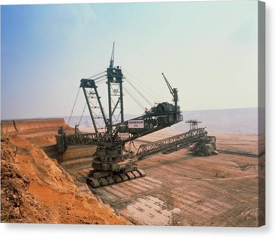 Excavators Canvas Print - A Massive Bucket Wheel Excavator by Tony Craddock/science Photo Library