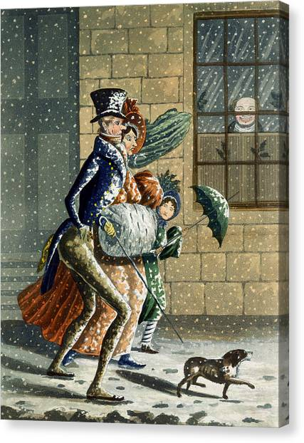 Dog Walking Canvas Print - A Merry Christmas And Happy New Year by W Summers