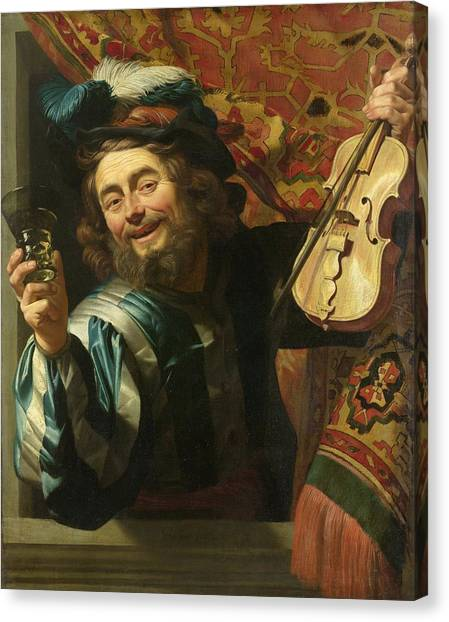 Rijksmuseum Canvas Print - A Merry Fiddler by Gerard van Honthorst