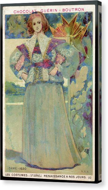 A Middle-class Lady In  Lacy Collar Canvas Print by Mary Evans Picture Library