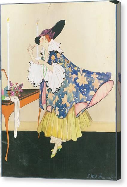 A Model Applying Lipstick Canvas Print by E.M.A. Steinmetz