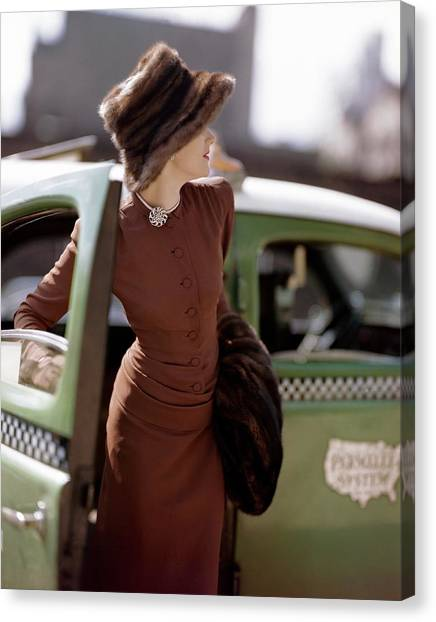 A Model Getting Out Of A Cab Canvas Print by Constantin Joffe