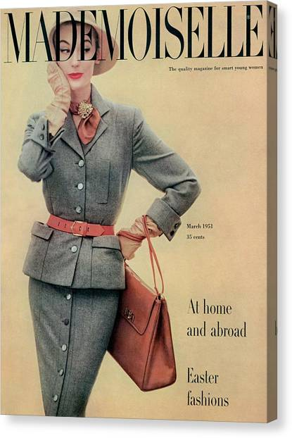 Flannel Canvas Print - A Model In A Flannel Suit By Joselli by Herman Landshoff
