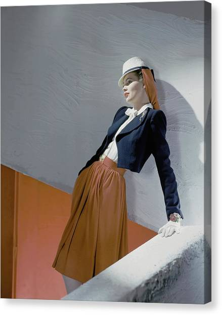 A Model Leaning On A Wall Canvas Print by Horst P. Horst