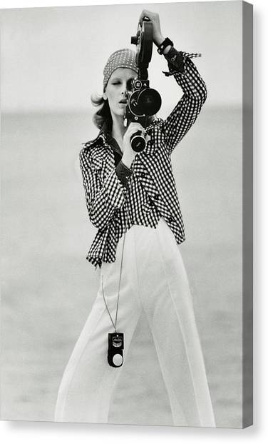 A Model Looking Through A Beaulieu Camera Wearing Canvas Print
