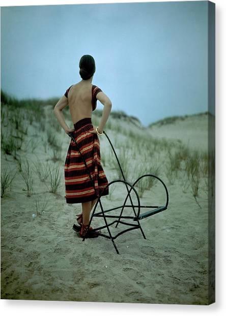 A Model On A Beach Canvas Print by Serge Balkin