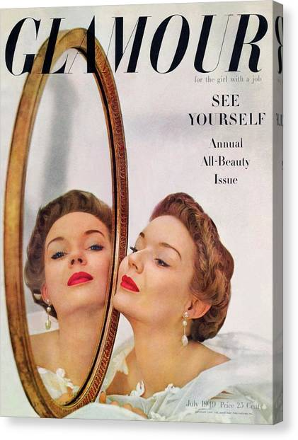 A Model Posing Against A Mirror Canvas Print by John Rawlings