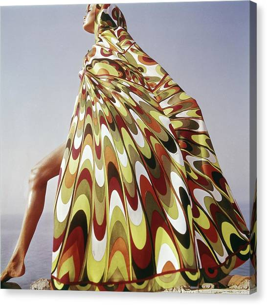 Fashion Canvas Print - A Model Posing In A Colorful Cover-up by Henry Clarke