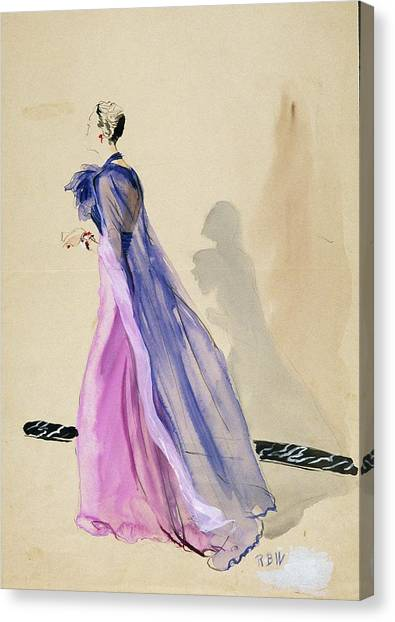Indoors Canvas Print - A Model Wearing A Blue Cape And Pink Chiffon by Rene Bouet-Willaumez