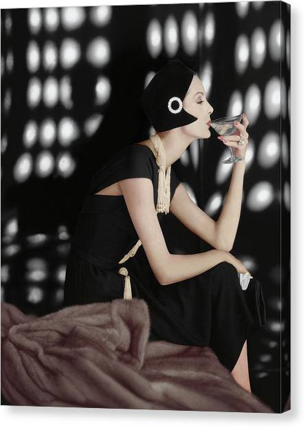 Martini Canvas Print - A Model Wearing A Branell Dress by Karen Radkai