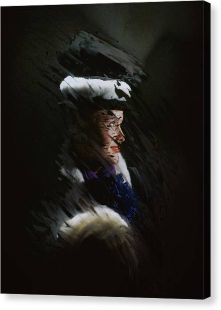 A Model Wearing A Coat And Hat Canvas Print by John Rawlings