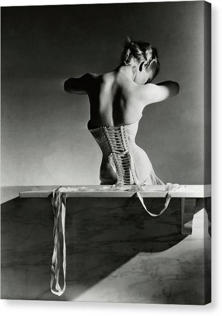Indoors Canvas Print - The Mainbocher Corset by Horst P Horst