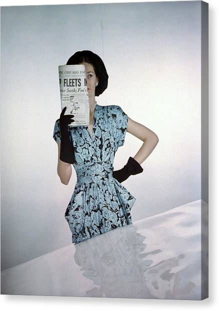Adele Canvas Print - A Model Wearing A Floral Blue Dress by Constantin Joffe