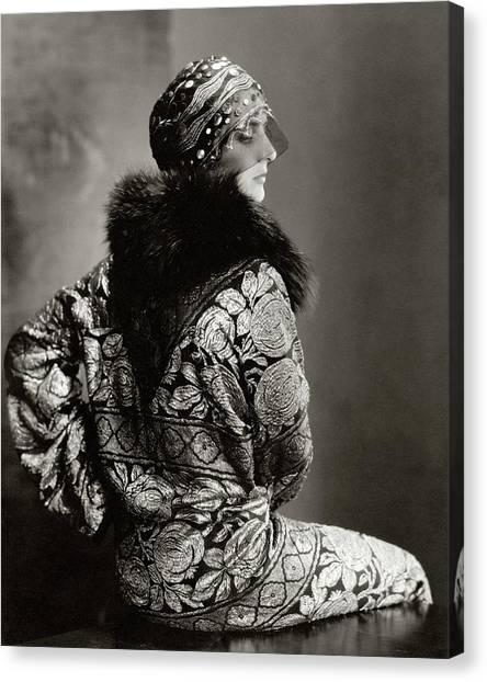 A Model Wearing A Headdress And Brocade Coat Canvas Print by Edward Steichen