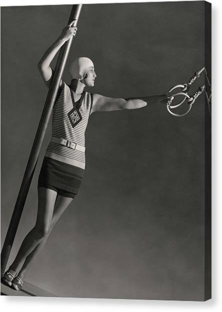 A Model Wearing A Jean Patou Bathing Suit Canvas Print