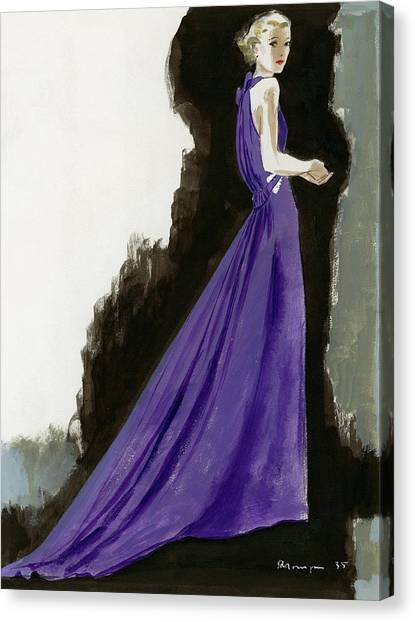 Indoors Canvas Print - A Model Wearing A Purple Evening Dress by Pierre Mourgue