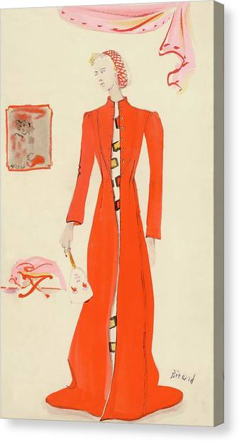 Indoors Canvas Print - A Model Wearing A Schiaparelli Military Red Coat by Christian Berard