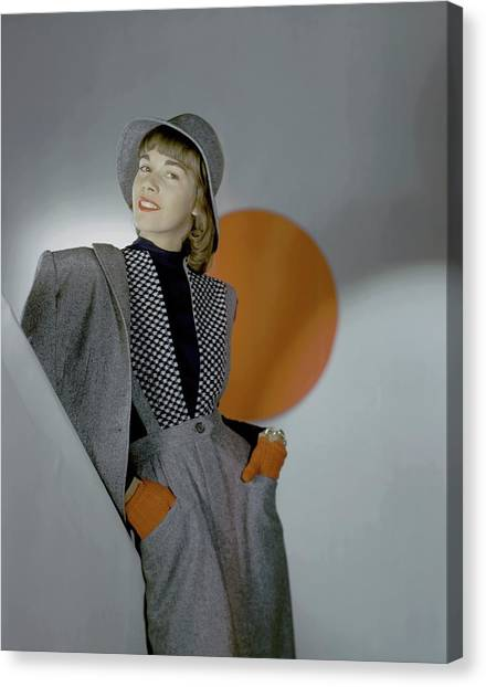 Flannel Canvas Print - A Model Wearing A Suit by Horst P. Horst