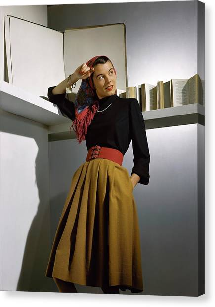 A Model Wearing A Sweater Canvas Print by Horst P. Horst