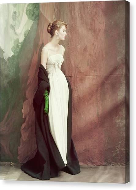 A Model Wearing A White Dress Canvas Print