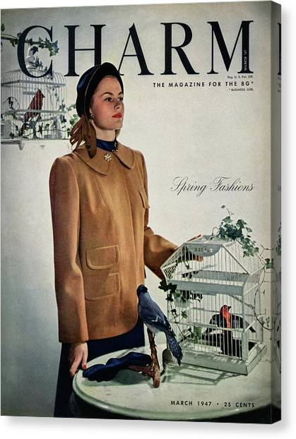 A Model Wearing A Wool Suede Coat With A Jay Bird Canvas Print