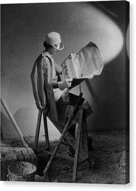 A Model Wearing An Oversized Shirt And Silk Dress Canvas Print by Cecil Beaton