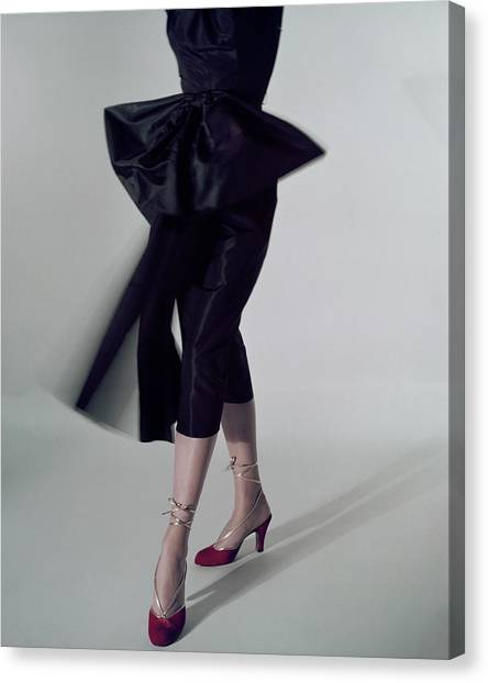 A Model Wearing Red Shoes Canvas Print