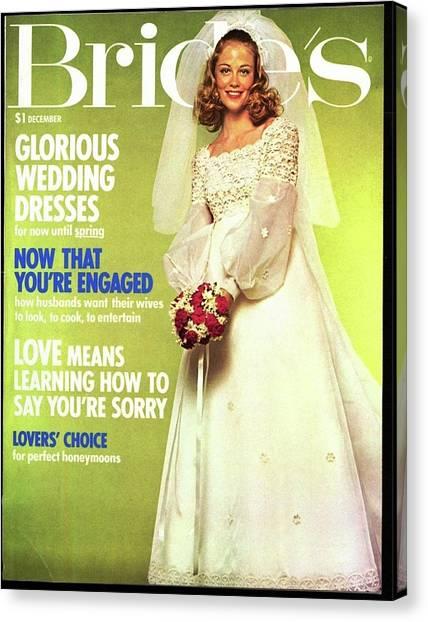 Wedding Bouquet Canvas Print - A Model Wears A Empire Line Dress by Didier Dorot