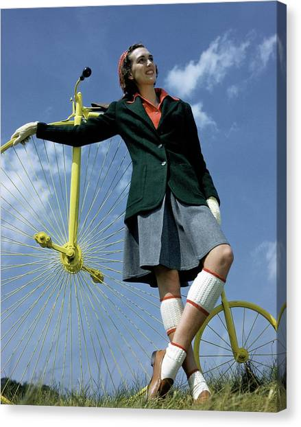 Flannel Canvas Print - A Model With An Old-fashioned Bicycle by Toni Frissell