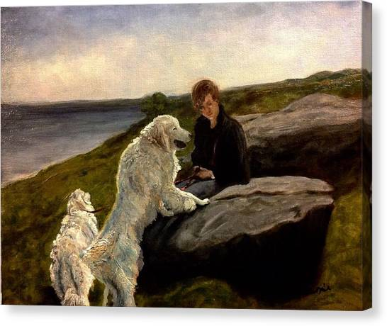 A Moment Of Repose With The Magnificent Dogs Canvas Print
