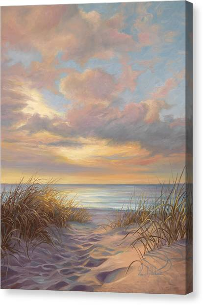 Beach Sunsets Canvas Print - A Moment Of Tranquility by Lucie Bilodeau