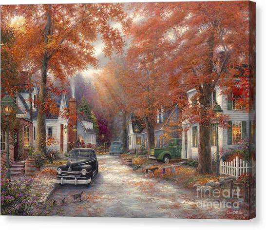 Classic Cars Canvas Print - A Moment On Memory Lane by Chuck Pinson