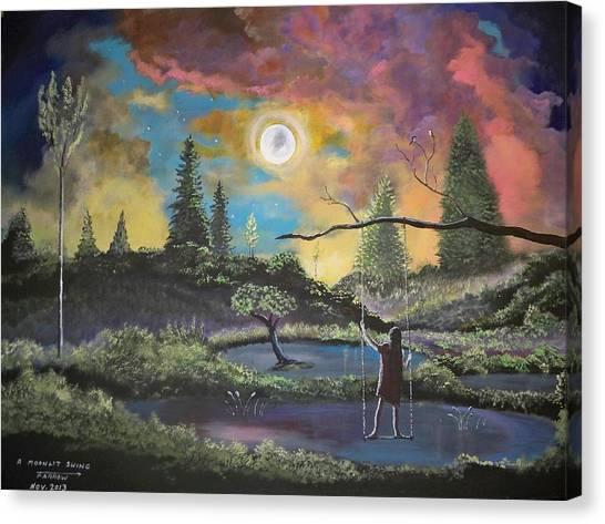 A Moonlit Swing Canvas Print