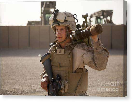 Nato Canvas Print - A Mortarman With The U.s. Marines by Stocktrek Images