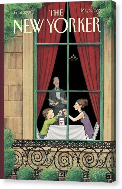 A Mother And Son Enjoy A Meal Together Canvas Print