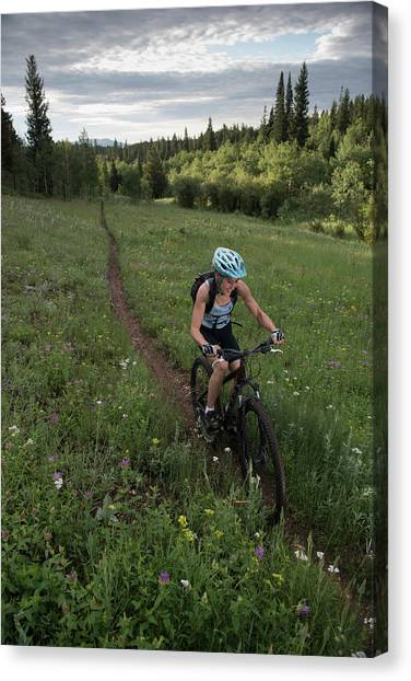 Nederland Canvas Print - A Mountain Biker Happily Rides A Single by Topher Donahue