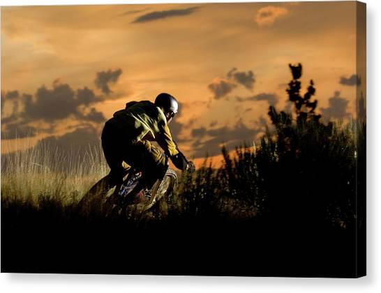 Dirt Bikes Canvas Print - A Mountain Biker Hits A Corner by Blake Jorgenson