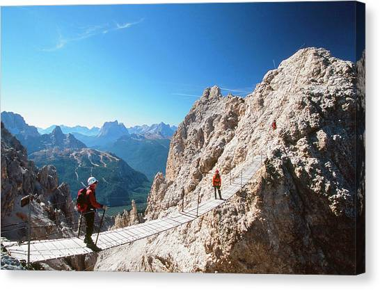 Dolomites Canvas Print - A Mountaineer On A Via Ferrata by Ashley Cooper