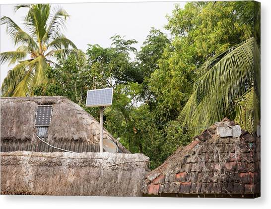 Ganges Canvas Print - A Mud Hut With A Small Solar Panel by Ashley Cooper