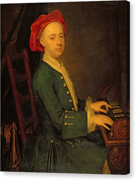 Harpsichords Canvas Print - A Musician, C.1700-50 by English School